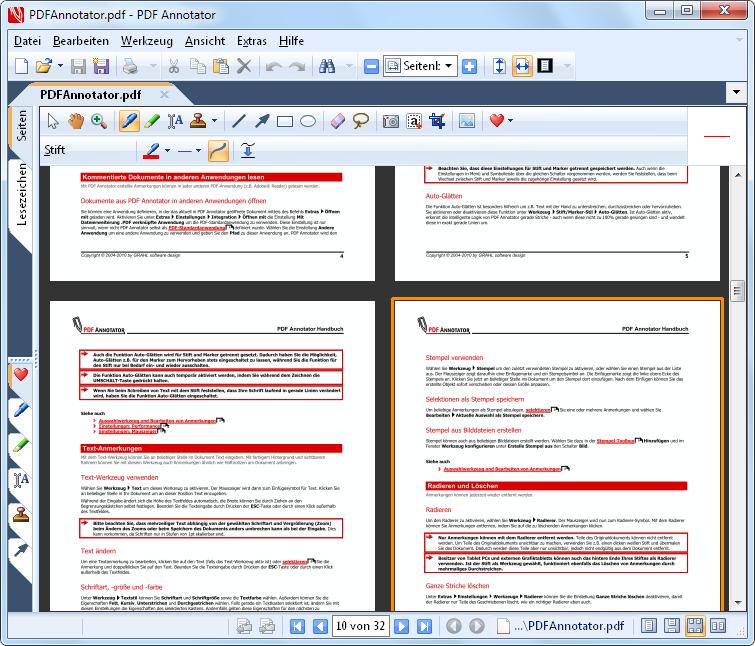 Seitenlayout: Wählen Sie zwischen ein- und zweiseitigem Layout bei Darstellung von jeweils einer ganzen Seite, oder fortlaufender Darstellung aller Seiten.