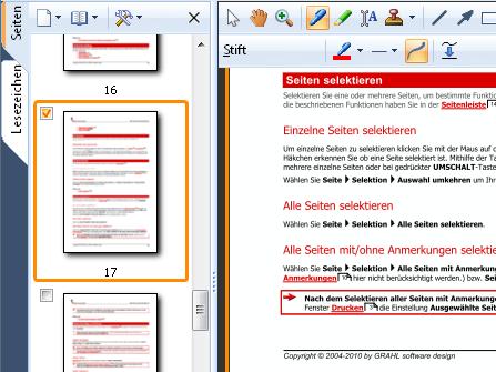 Seitenvorschau: Verschaffen Sie sich einen schnellen Überblick über Dokumente mit der ausklappbaren Seitenvorschau, die auch Mehrfachselektion für alle Seiten-Funktionen erlaubt.