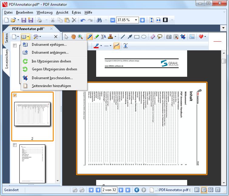 Seiten drehen: Drehen Sie Seiten oder ganze Dokumente.