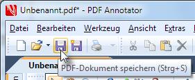 Das neue PDF in PDF Annotator speichern