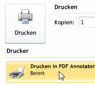 Auswahl des PDF-Druckers
