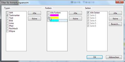 Filterauswahl