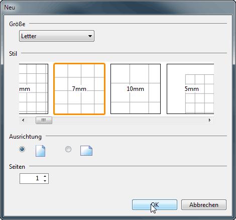 Auswahl von Größe, Stil, Ausrichtung und Seitenzahl für das neue PDF-Dokument