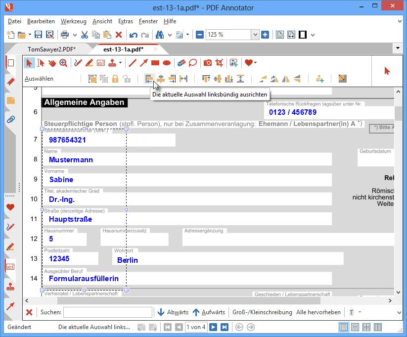 Anmerkungen anordnen: Ihre Dokumente wirken professioneller, wenn alle Eingaben sauber ausgerichtet sind. Dazu verwenden Sie die umfangreichen Ausrichtungs-Funktionen in PDF Annotator. Richten Sie Formulareingaben linksbündig aus, sorgen Sie für gleichmäßige Abstände oder zentrierten Text.