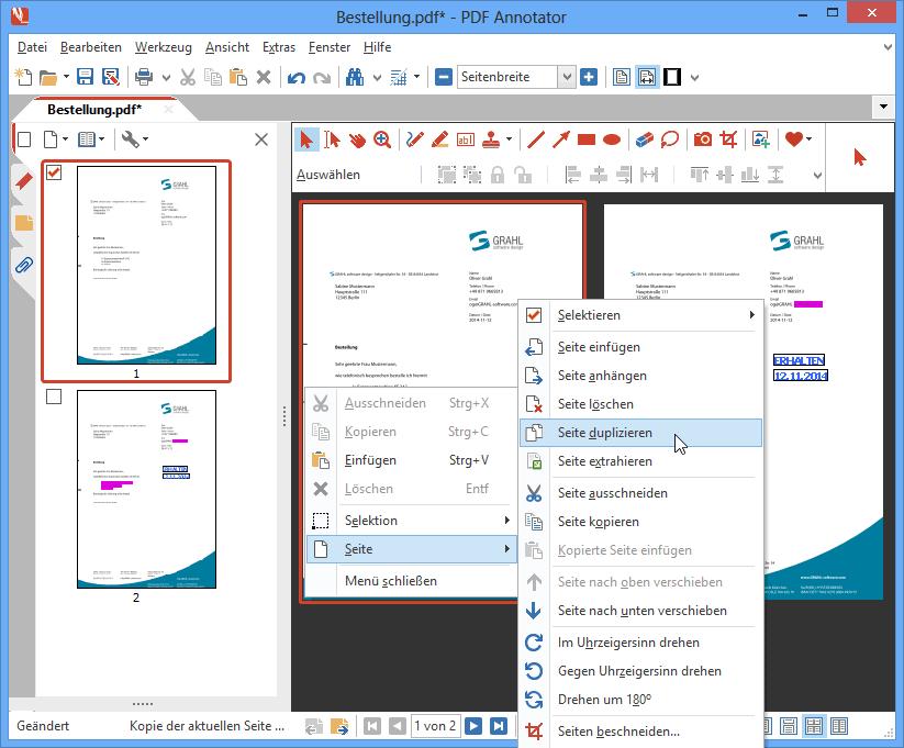 Seiten duplizieren: Klonen Sie eine Seite mit nur einem Klick, um zum Beispiel das Original unverändert zu belassen und gleichzeitig das Duplikat mit Kommentaren zu versehen.