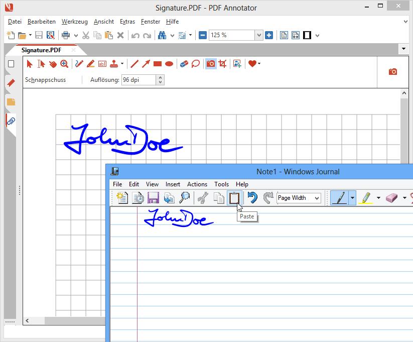 """Digitale Tinte kopieren & einfügen: Kopieren Sie handschriftliche Anmerkungen in PDF Annotator und fügen Sie sie in andere Anwendungen ein, die auch mit digitaler Tinte (""""Digital Ink"""") umgehen können, z.B. Microsoft Journal, Microsoft OneNote, oder andere Microsoft Office Produkte. Und natürlich funktioniert auch die Gegenrichtung: Fügen Sie Handschriftliches aus anderen Anwendungen in PDF Annotator ein - ohne Qualitätsverlust!"""