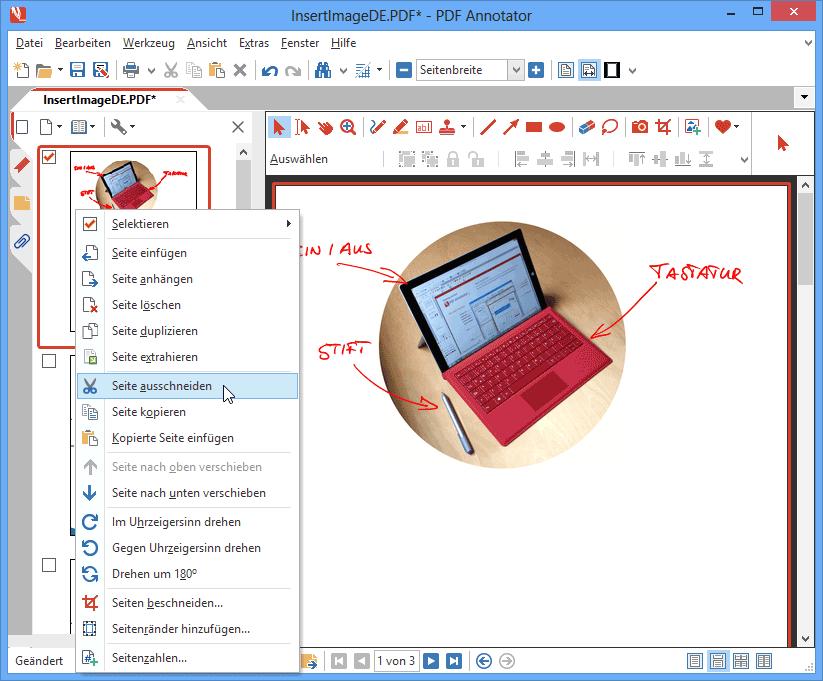 Kopieren/Ausschneiden & Einfügen von Seiten: Schneiden Sie Seiten aus oder Kopieren Sie Seiten und fügen Sie diese dann an einer anderen Position im gleichen Dokument, oder auch in einem anderen Dokument wieder ein.