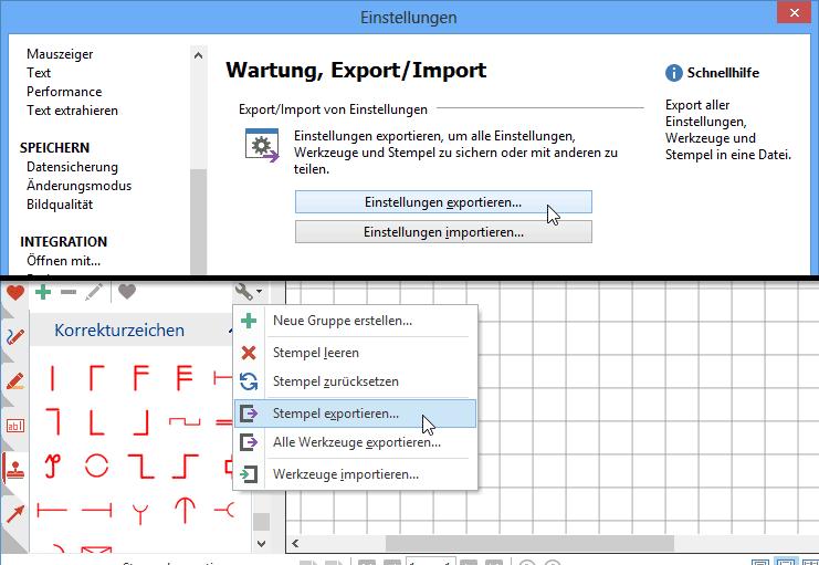 Stempel und Einstellungen austauschen & verteilen: Exportieren Sie alle Ihre Stempel, oder auch alle PDF Annotator-Einstellungen, um Sicherungskopien zu erstellen, auf andere Rechner zu übertragen, oder Kollegen zur Verfügung zu stellen.