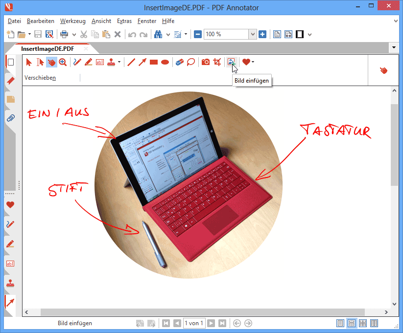 Bilder einfügen: Platzieren Sie Fotos oder andere Bilddateien im PDF, kommentieren Sie dann die Aufnahmen mit den Stift-, Marker- oder Text-Werkzeugen. Sie möchten auf etwas in einem Foto hinweisen? Nehmen Sie einfach ein leeres, neues Blatt, fügen Sie das Foto mittig ein und verwenden Sie für Ihre Anmerkungen den Stift, Pfeile oder Kreise. PDF Annotator unterstützt über 40 Bildformate, darunter populäre Formate wie JPG, PNG, GIF oder BMP.
