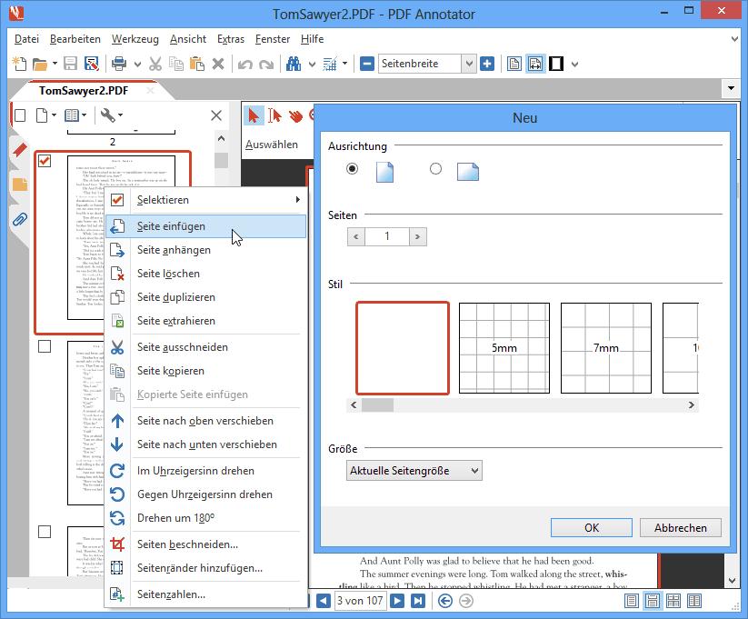 Neue Seiten einfügen: Fügen Sie neue Seiten ein oder hängen Sie neue Seiten an, wo immer Sie sie benötigen.