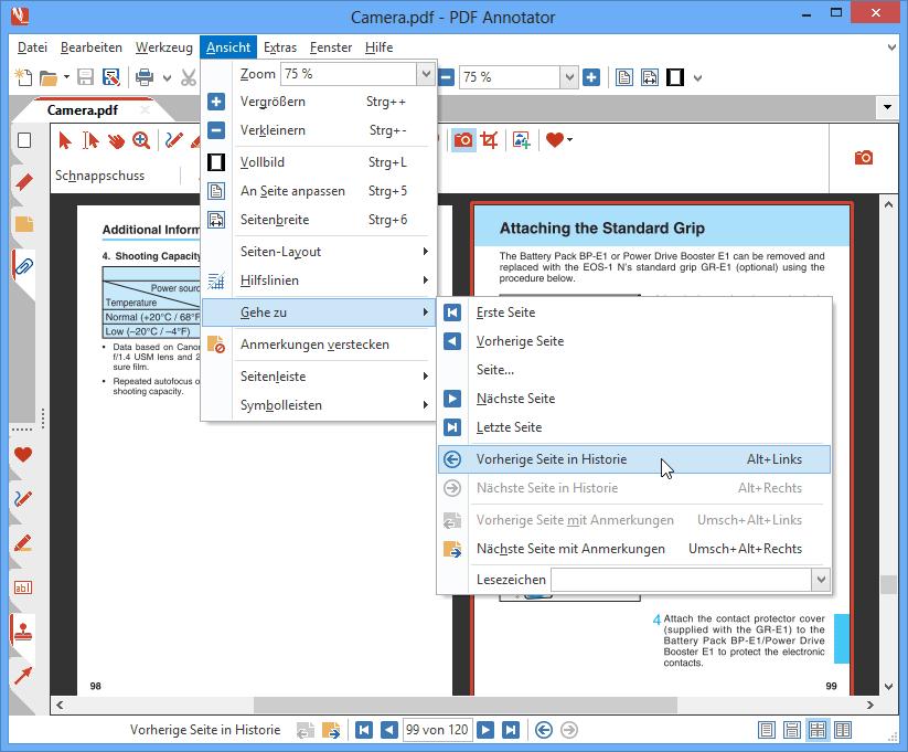 Navigation: PDF Annotator enthält eine Reihe nützlicher Funktionen, um sich in einem PDF zu bewegen. Springen Sie direkt zu bestimmten Seiten, zu Seiten mit Anmerkungen oder zurück zur zuletzt betrachteten Seite. Außerdem merkt sich PDF Annotator, auf welcher Seite Sie zuletzt an einem Dokument gearbeitet haben, und springt beim nächsten Öffnen gleich wieder an die richtige Stelle.