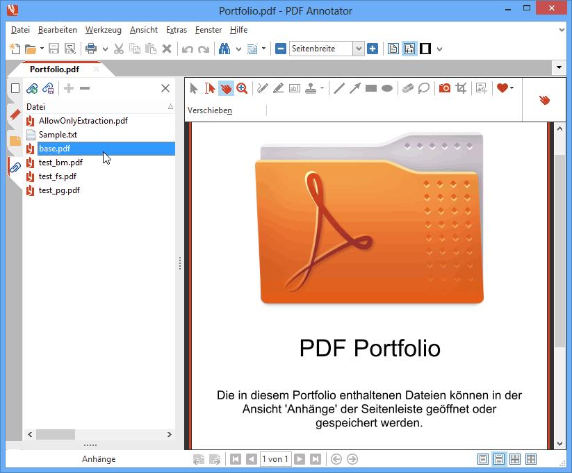 PDF Portfolios & Dateianhänge: PDF Portfolios sind Sammlungen von PDF-Dokumenten, die mit PDF Annotator geöffnet und angezeigt werden können. Fügen Sie Dateianhänge zu PDF-Dateien hinzu oder speichern Sie bestehende Anhänge, um sie in mit anderen Anwendungen zu öffenen und zu bearbeiten.