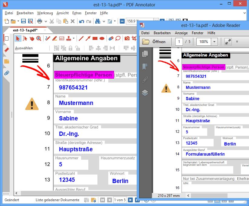 Als PDF speichern & in allen PDF-Readern ansehen: Alle Anmerkungen, die Sie in PDF Annotator erstellen, werden direkt in das PDF gespeichert. Keine spezielle Software wird benötigt, um Ihre Anmerkungen zu lesen. Jeder PDF-Betrachter, einschließlich dem Adobe® Reader®, kann Ihre Anmerkungen darstellen. Senden Sie Ihre bearbeiteten PDFs an Mitarbeiter, Kunden, Freunde oder Familienmitglieder - alle werden Ihre Anmerkungen ohne Probleme lesen können, auch ohne PDF Annotator.