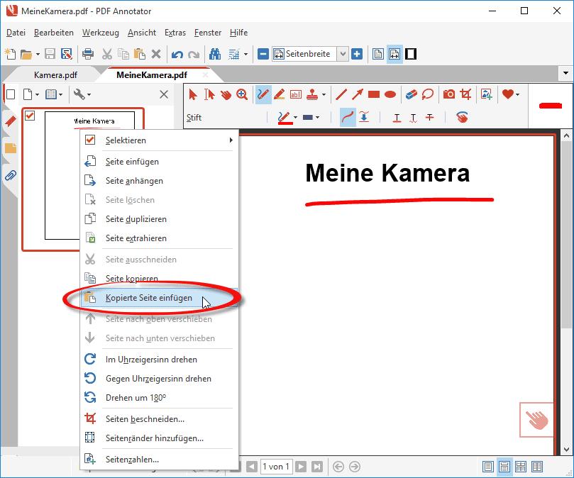 Kopierte Seite in anderes PDF-Dokument einfügen