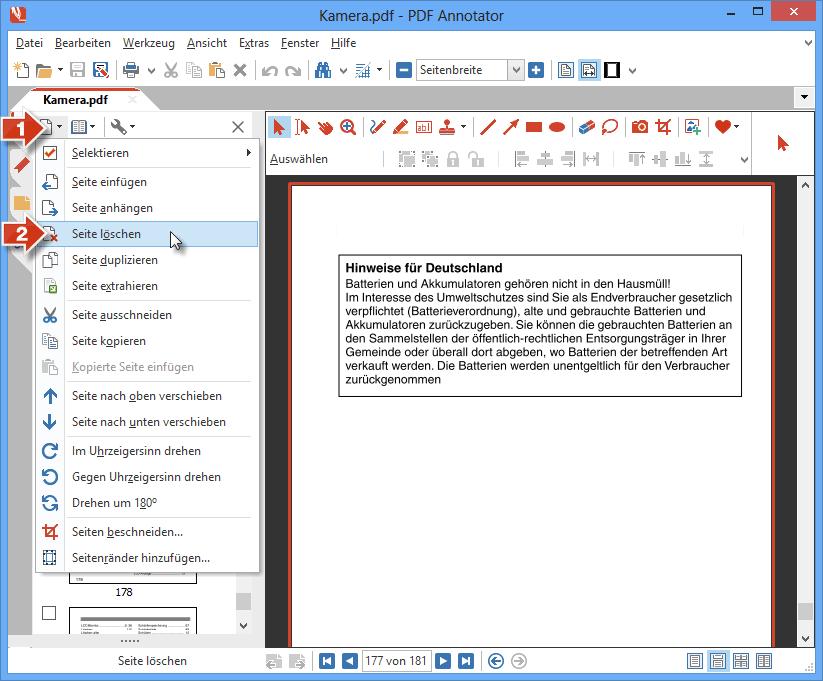 Seite aus PDF löschen