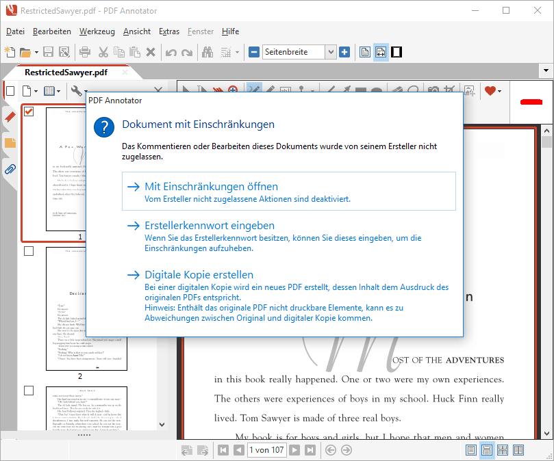 Öffnen eines eingeschränkten, passwortgeschützten PDFs