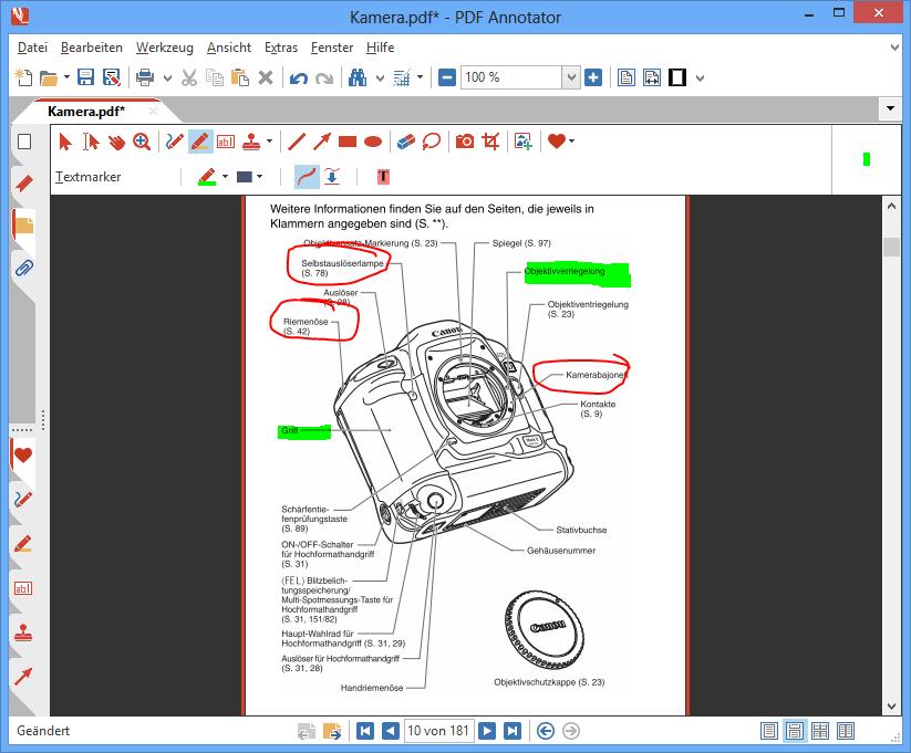 PDF-Dokument mit Anmerkungen auf nur einigen Seiten