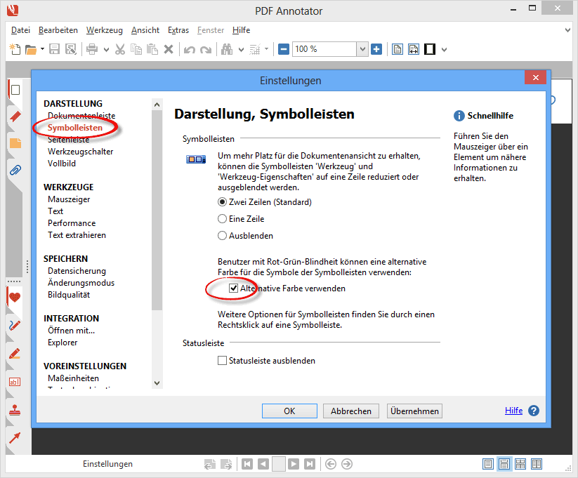 Alternative Farbe für Werkzeug-Symbole verwenden