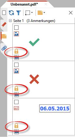 Gesperrt- und Gruppiert-Status in der Anmerkungen-Seitenleiste