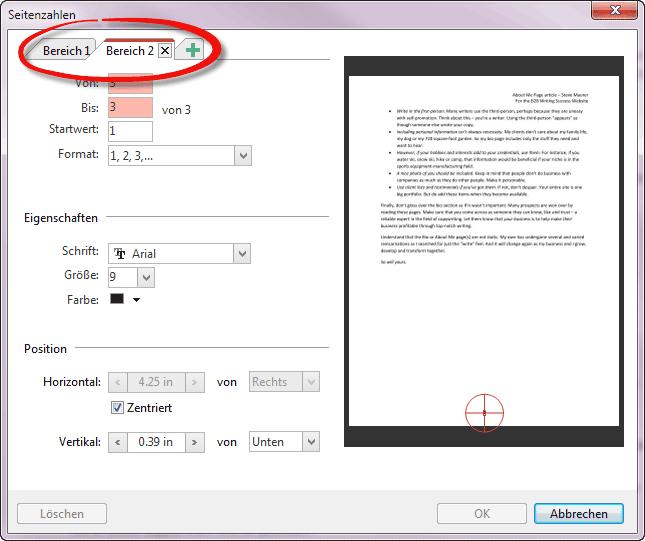 Seitenzahlen mit Seitenbereichen