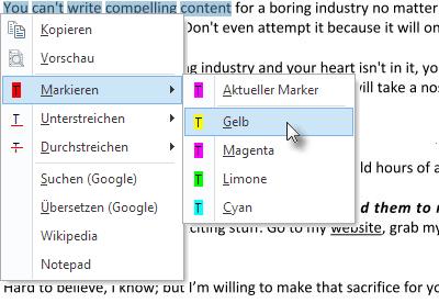 Textauswahl mit Kontextmenü