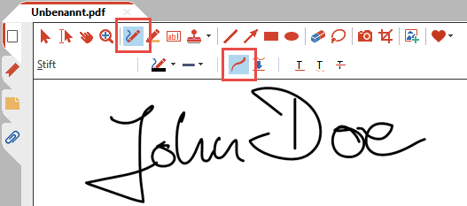 Mit dem Stift-Werkzeug unterschreiben