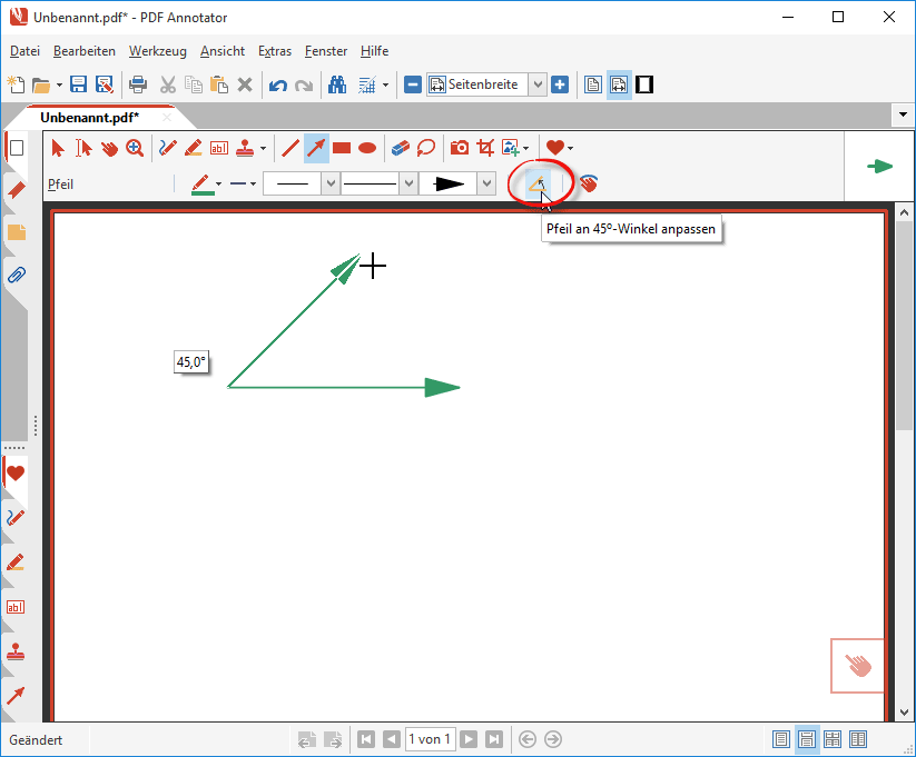 Linien an 45°-Winkel anpassen