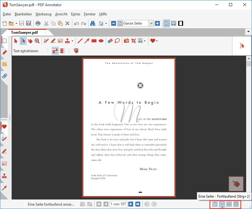 Seiten-Layout: Eine Seite - Fortlaufend