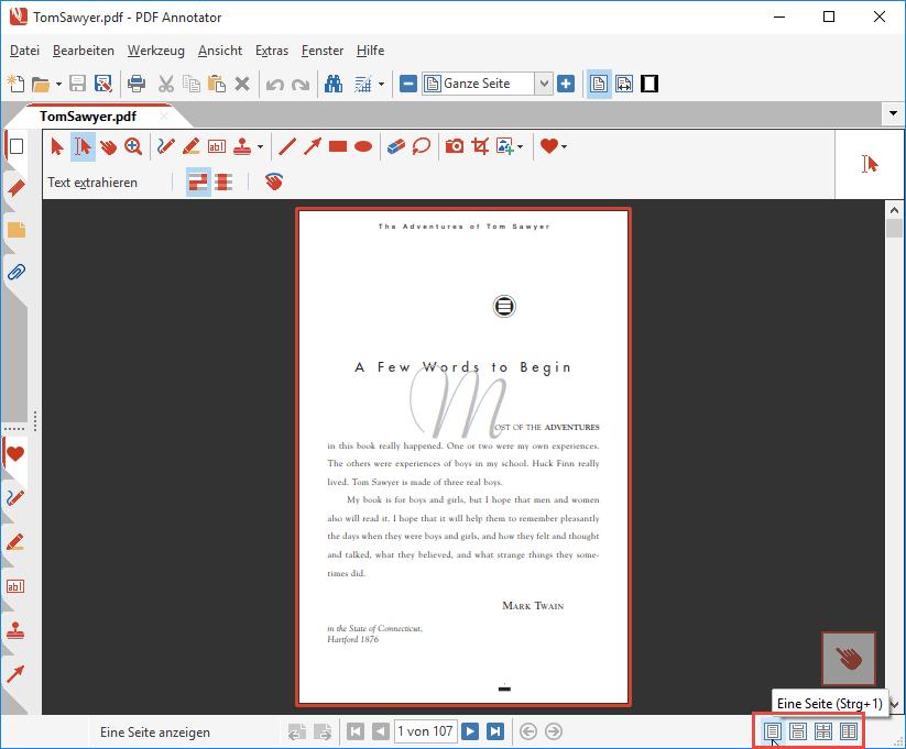 Seiten-Layout: Eine Seite