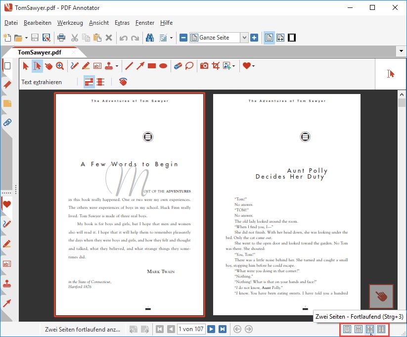 Seiten-Layout: Zwei Seiten - Fortlaufend