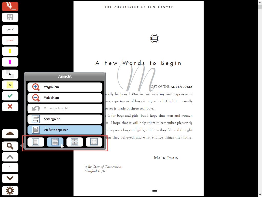 Seiten-Layout im Vollbildmodus: Eine Seite - Fortlaufend