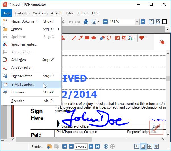 Als Email-Anhang senden: Versenden Sie ein bearbeitetes Dokument mit nur einem einzigen Klick per Email.