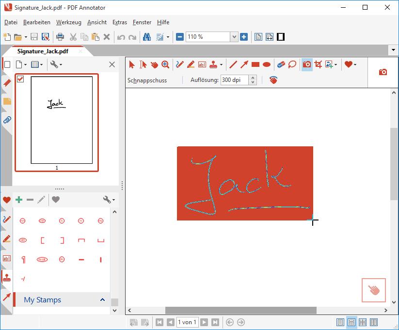 Unterschrift mit Schnappschuss-Werkzeug selektieren