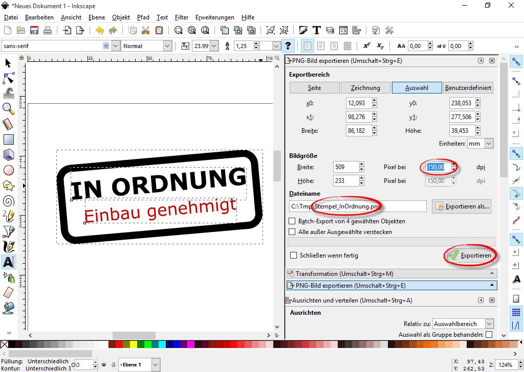 PNG-Bild exportieren