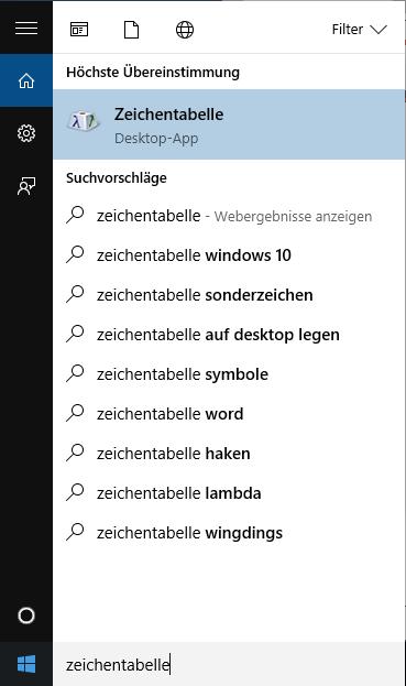 Windows Zeichentabelle öffnen