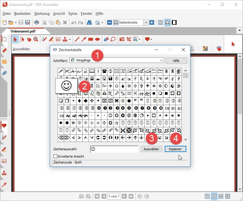 Symbol in der Zeichentabelle auswählen