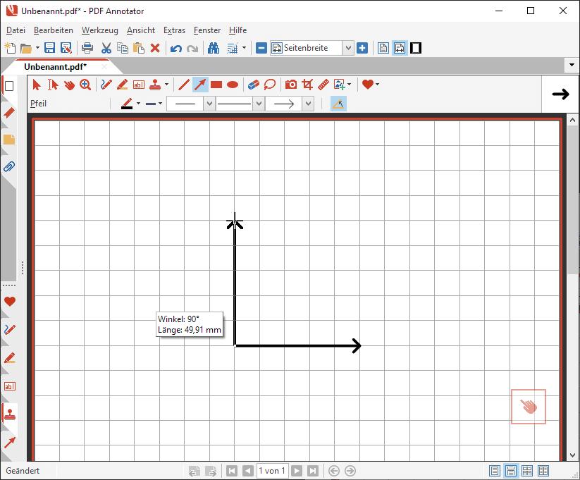 Zweite Achse des Koordinatensystems zeichnen