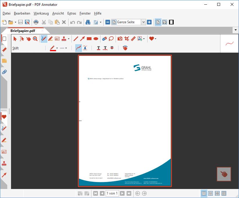 Vorlage-PDF in PDF Annotator öffnen