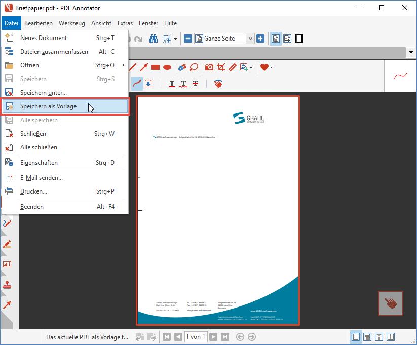 Datei, Als Vorlage speichern