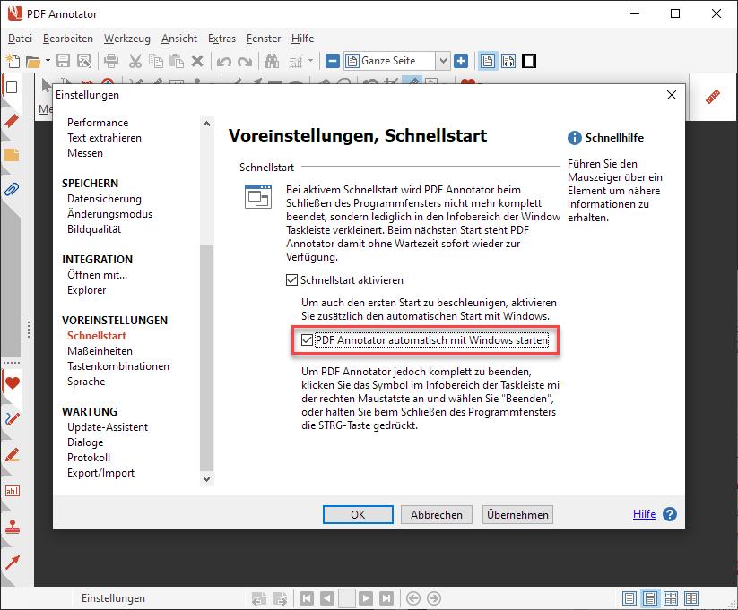 PDF Annotator automatisch mit Windows starten