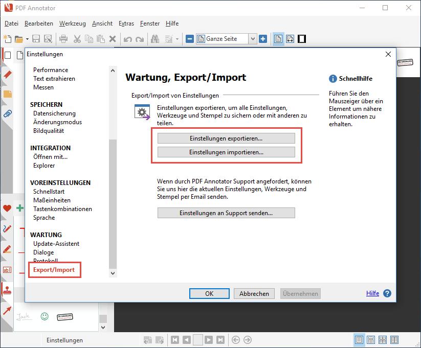 Einstellungen exportieren/importieren