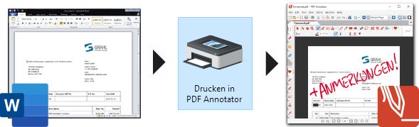 Word nach PDF konvertieren mit PDF Annotator's PDF-Drucker