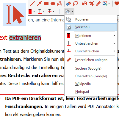 "Funktion ""Text extrahieren"""