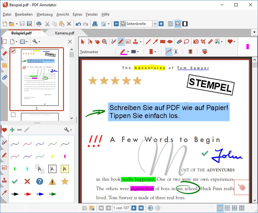 Kommentieren, Hervorheben, Unterstreichen: Kommentare können mit dem Stift in praktisch jeder Farbe und in verschiedenen Stiftbreiten erstellt werden. Schreiben Sie einfach Ihre Anmerkungen in das Dokument!