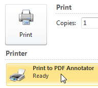 Select Print to PDF Annotator virtual printer