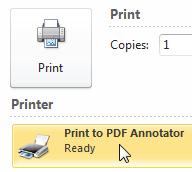 Select Print to PDF Annotator virtual printer