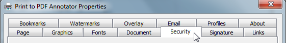 Print to PDF Annotator has various printer settings