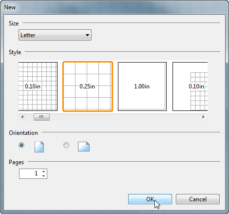Select size, style, orientation and page count for the new PDF file