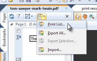 Print annotations list