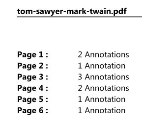 Print annotations: Page list